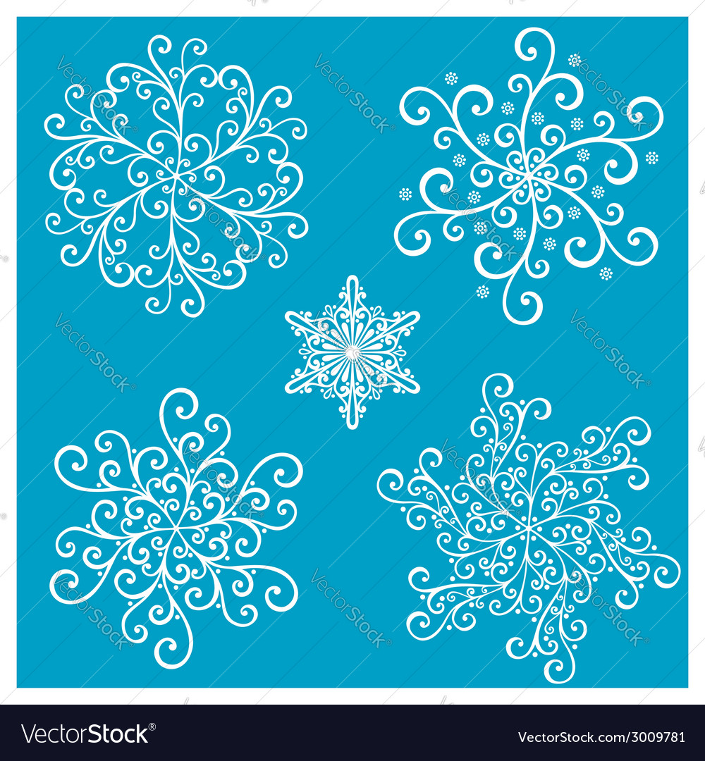 Beautiful deco small snowflakes vector | Price: 1 Credit (USD $1)