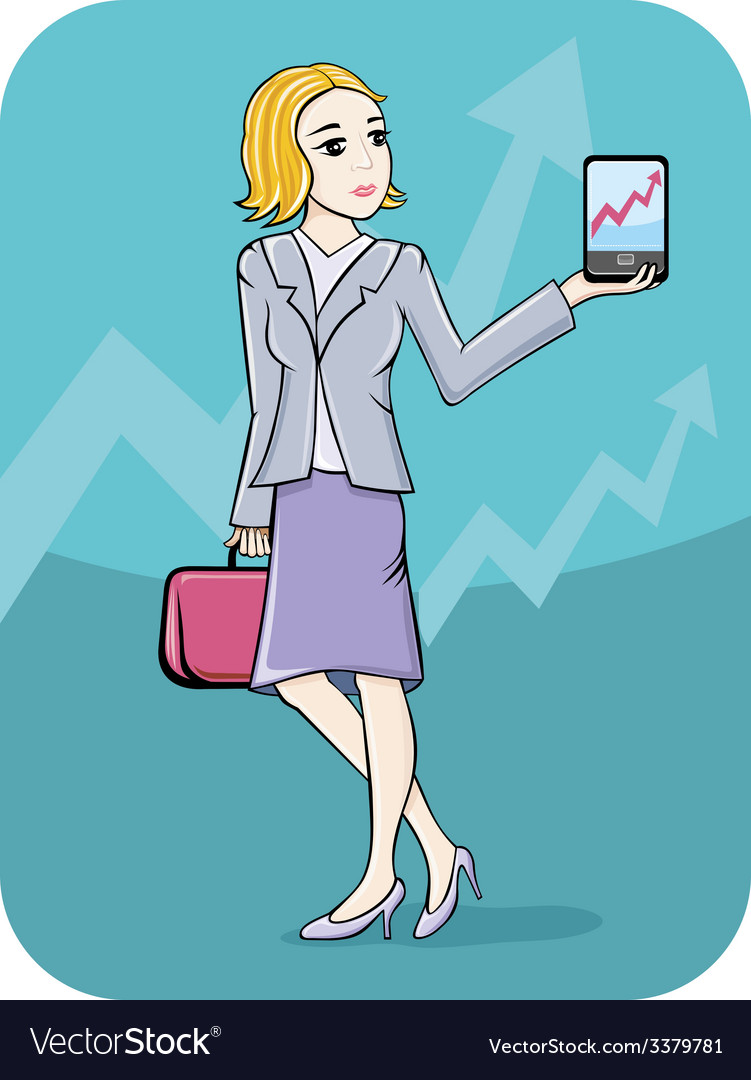 Businesswoman showing graph on smartphone screen vector | Price: 1 Credit (USD $1)
