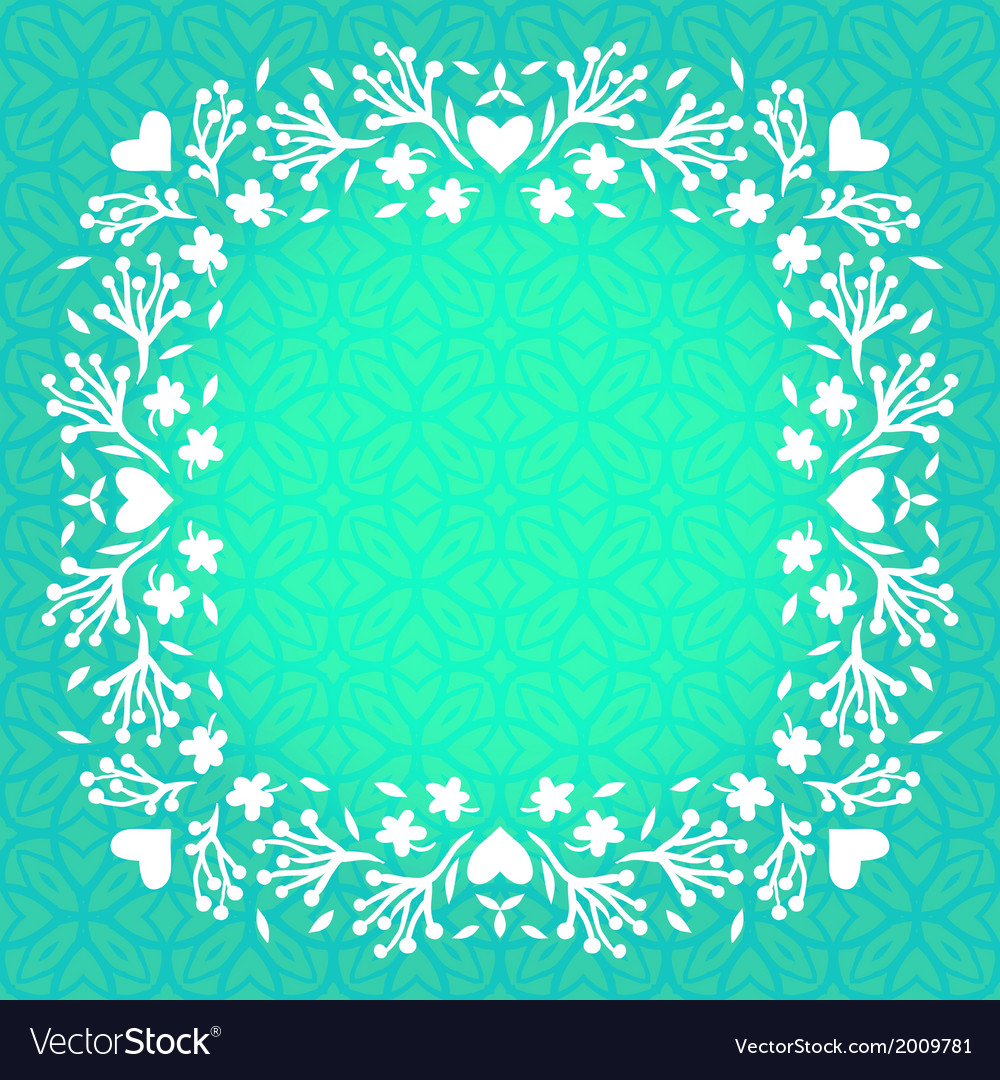 Floral frame with small flowers and hearts vector | Price: 1 Credit (USD $1)