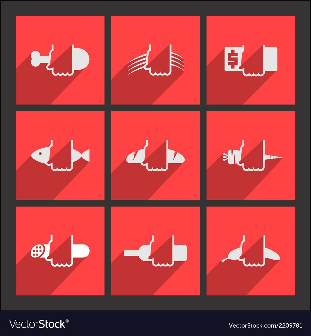 Foodstuffs flat icons set vector | Price: 1 Credit (USD $1)