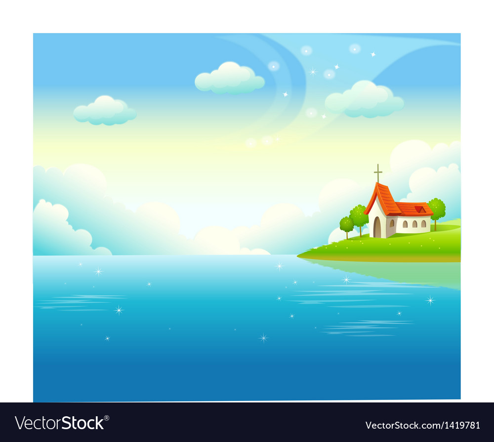 Idyllic church landscape background vector | Price: 1 Credit (USD $1)