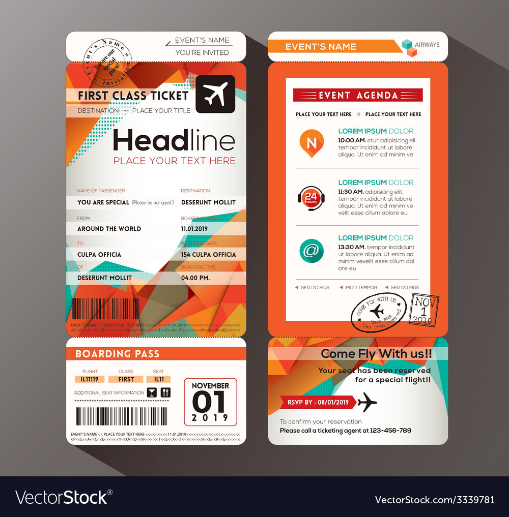Modern boarding pass ticket event invitation card vector | Price: 1 Credit (USD $1)