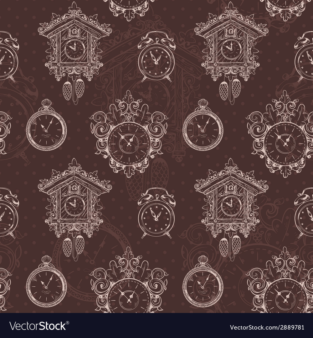 Old vintage clock seamless pattern vector | Price: 1 Credit (USD $1)