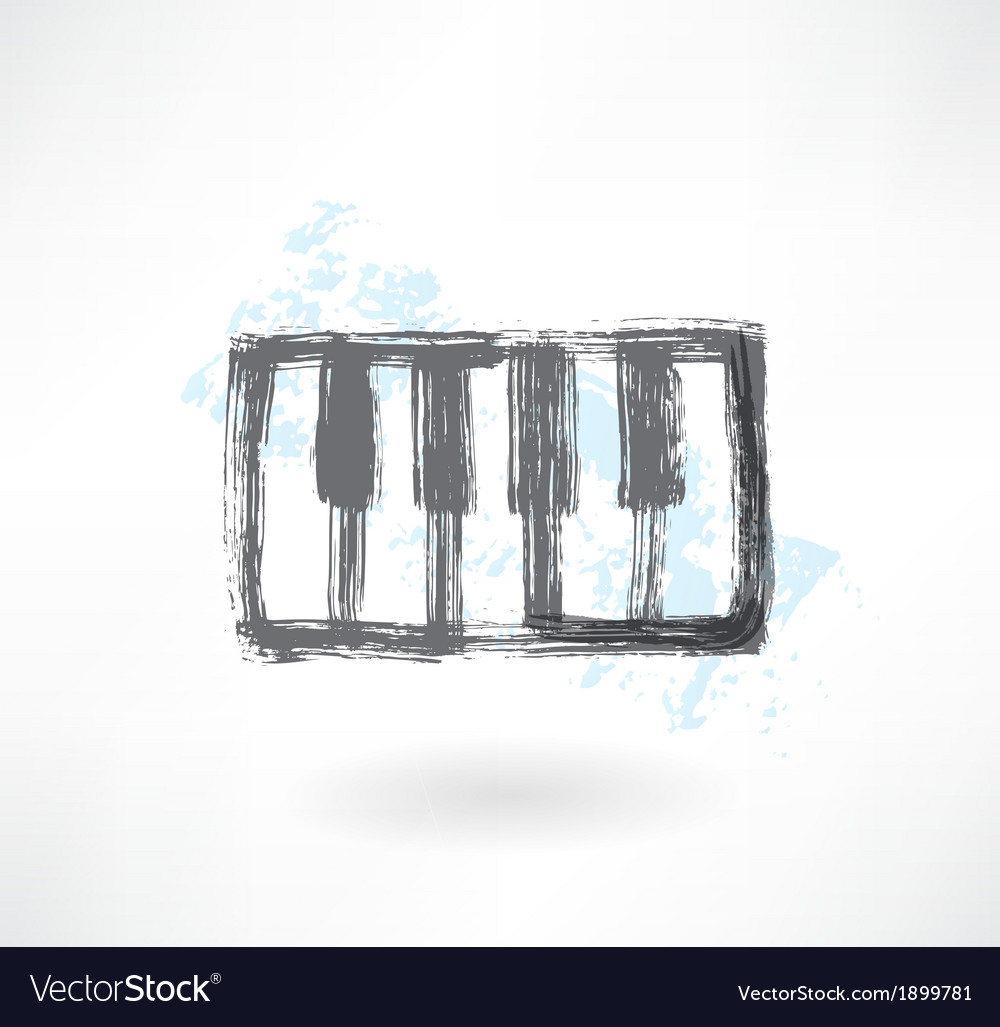 Piano keys grunge icon vector | Price: 1 Credit (USD $1)