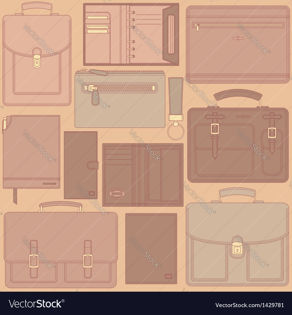 Seamless pattern with leather goods vector | Price: 3 Credit (USD $3)