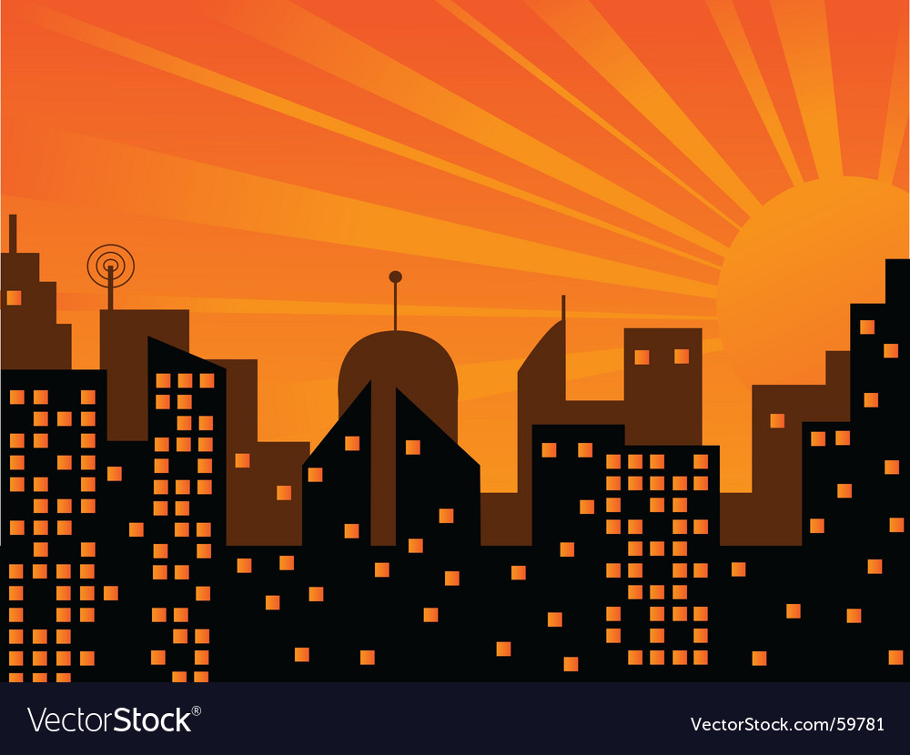 Sunset in the city vector | Price: 1 Credit (USD $1)