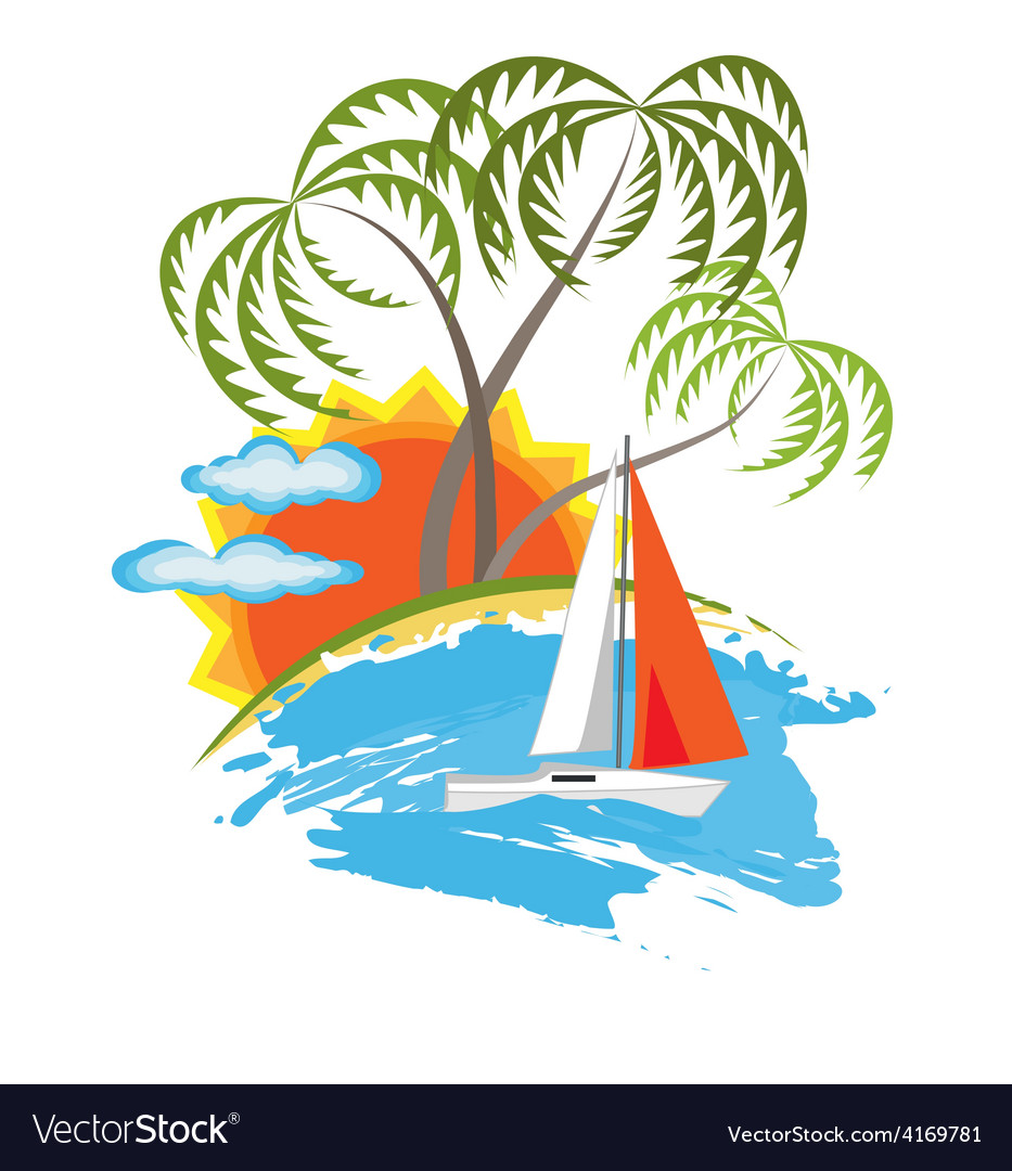 Tropical island and sailboat vector | Price: 1 Credit (USD $1)