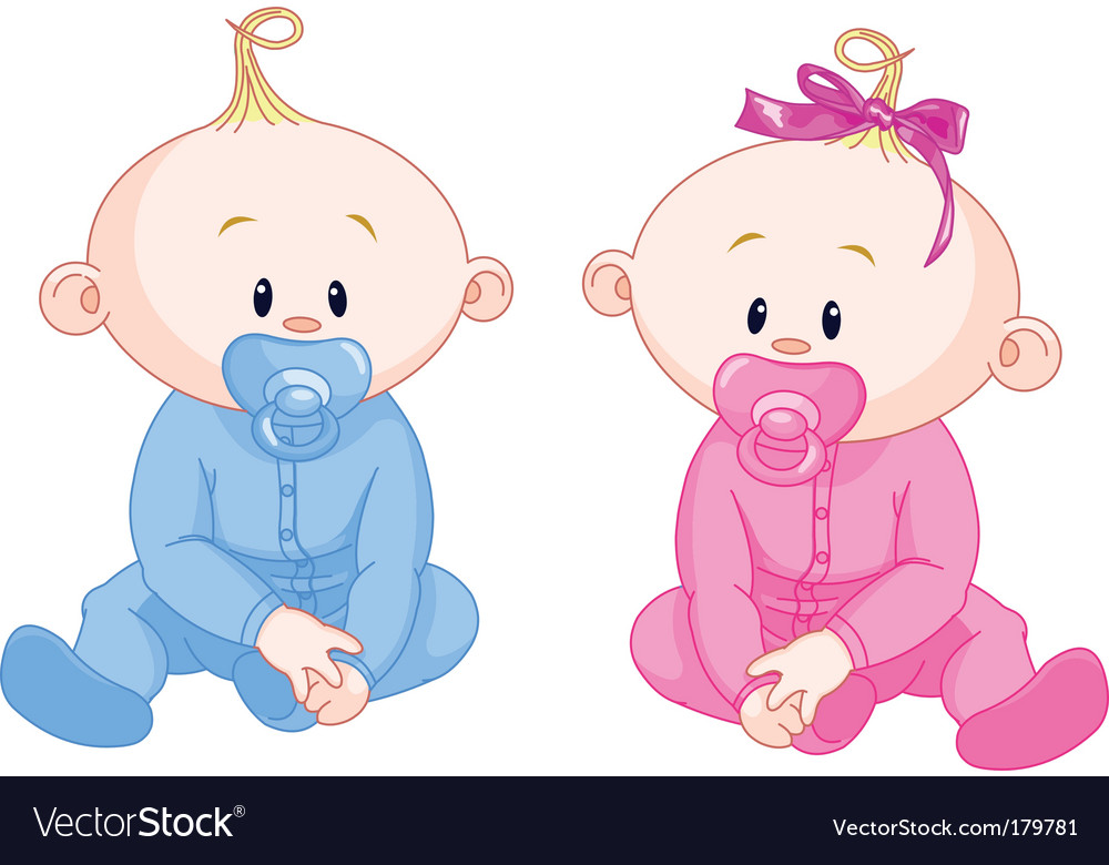 Two babies vector | Price: 3 Credit (USD $3)
