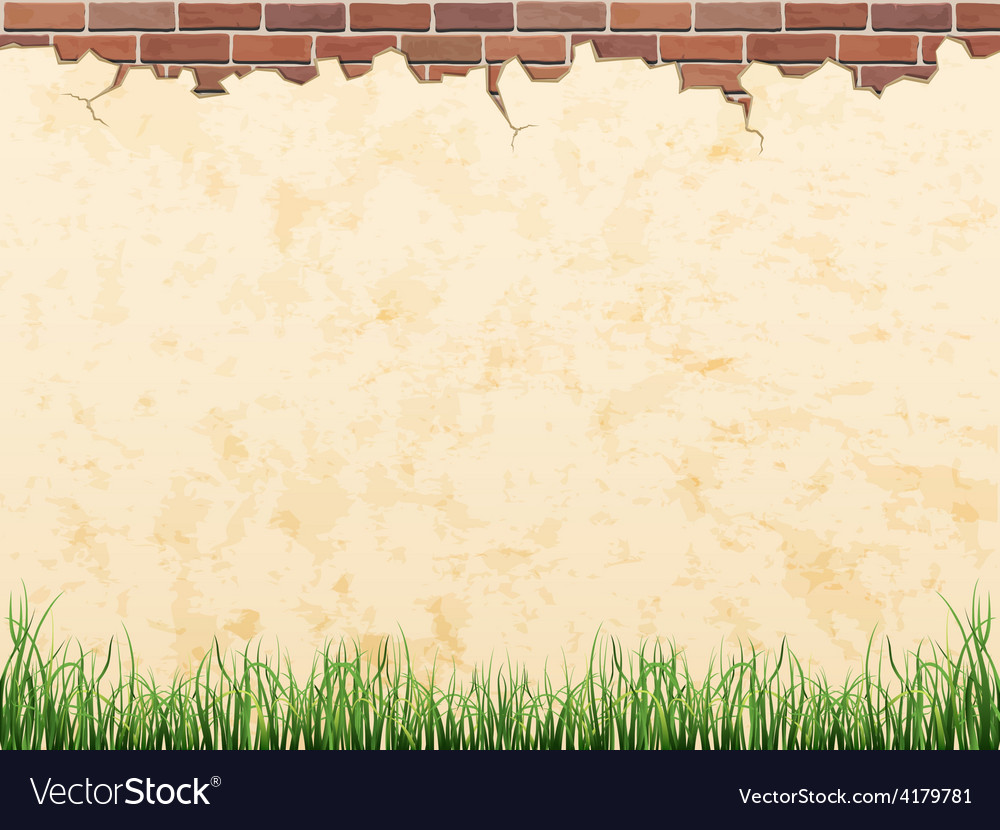 Vintage wall brick and grass vector | Price: 3 Credit (USD $3)