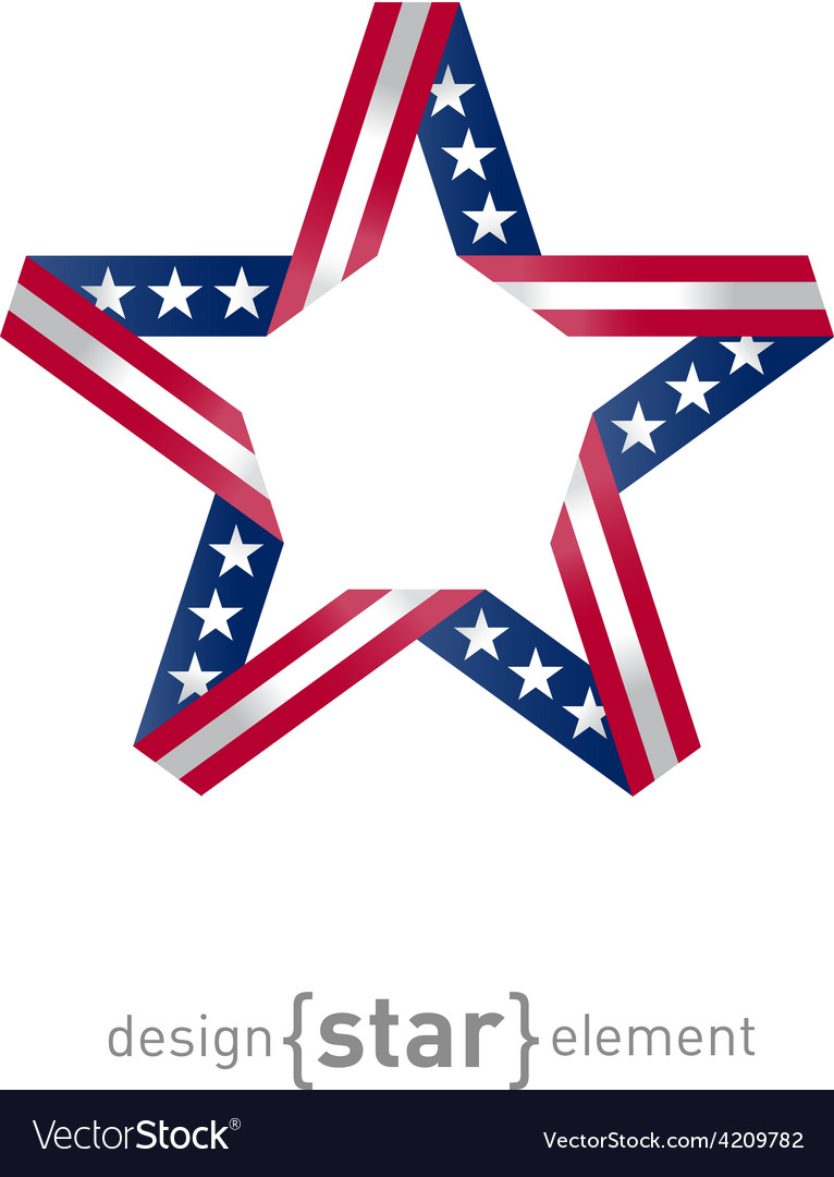 4th july independence day star from ribbon with vector | Price: 1 Credit (USD $1)