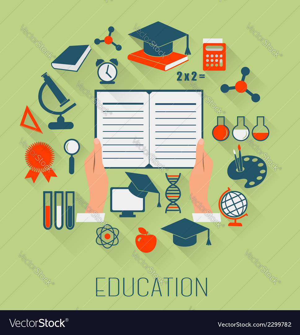Flat design concept icons for education e-learning vector   Price: 1 Credit (USD $1)
