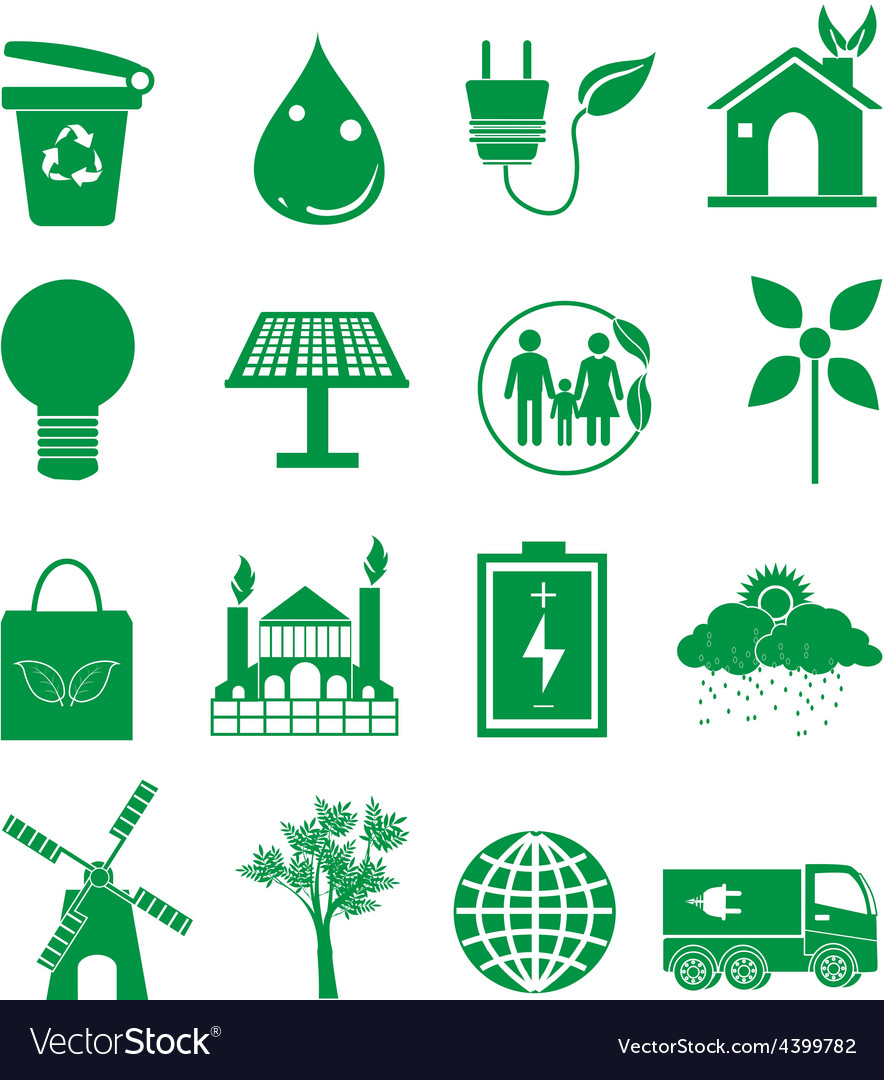 Go green ecology icons set vector | Price: 3 Credit (USD $3)