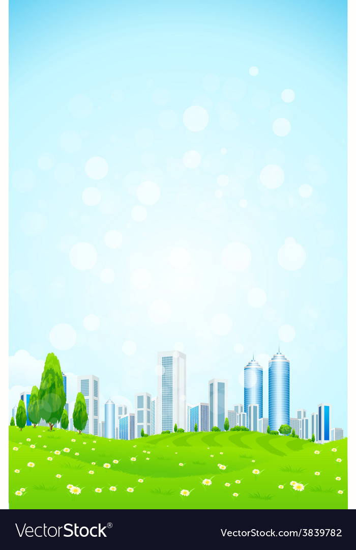 Green landscape with trees city vector | Price: 3 Credit (USD $3)