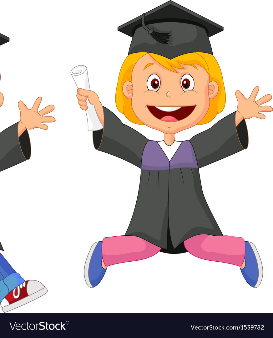 Happy graduates cartoon vector | Price: 1 Credit (USD $1)