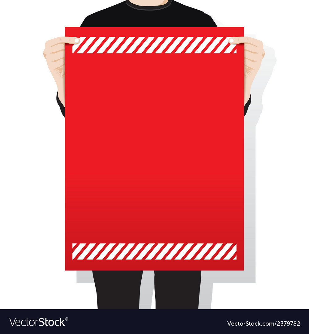 Man holding a blank paper vector | Price: 1 Credit (USD $1)