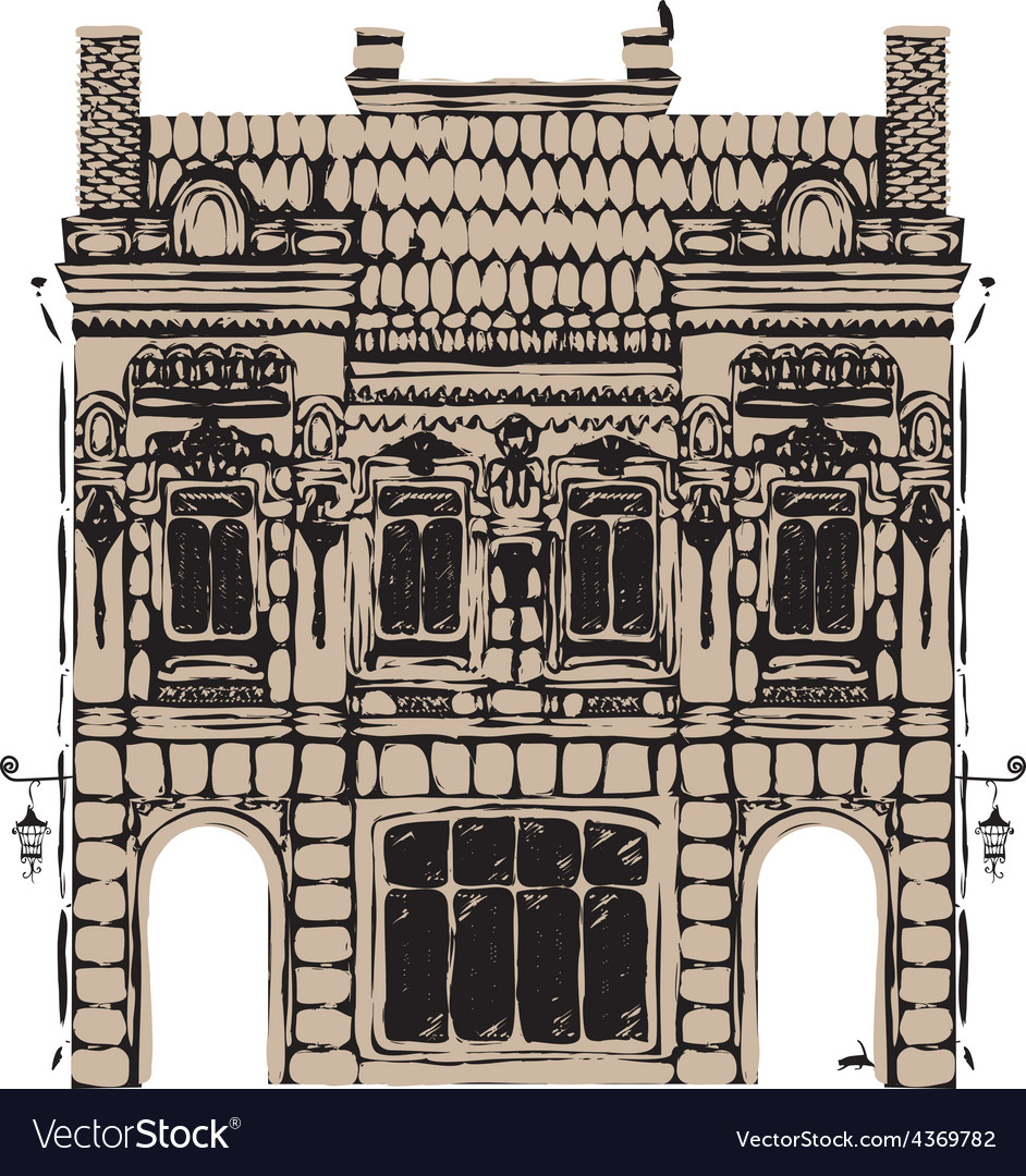 Old building vector | Price: 1 Credit (USD $1)