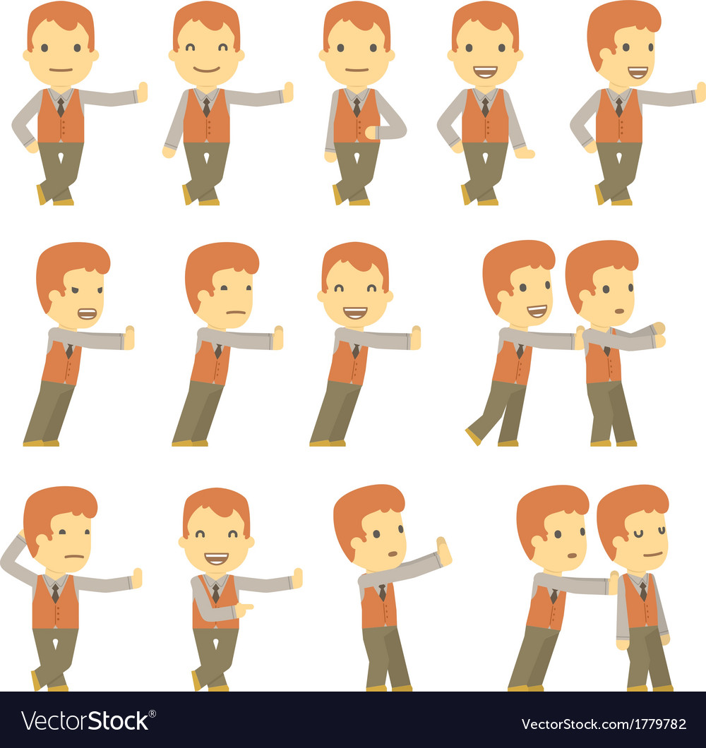 Urban character set in different poses simple flat vector | Price: 1 Credit (USD $1)