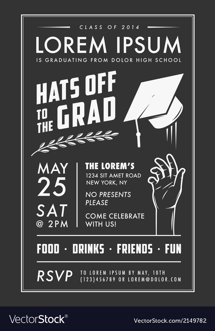 Vintage graduation party invitation card vector | Price: 1 Credit (USD $1)