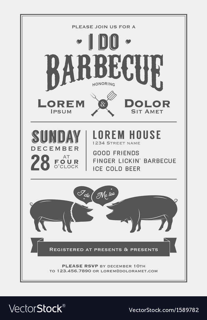 Vintage i do barbecue wedding invitation card vector | Price: 1 Credit (USD $1)
