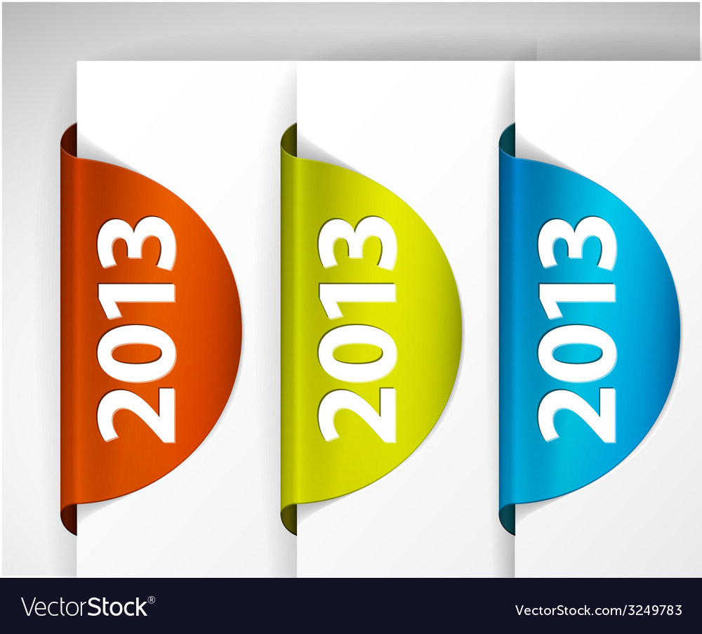 2013 round labels stickers on the edge of the web vector | Price: 1 Credit (USD $1)