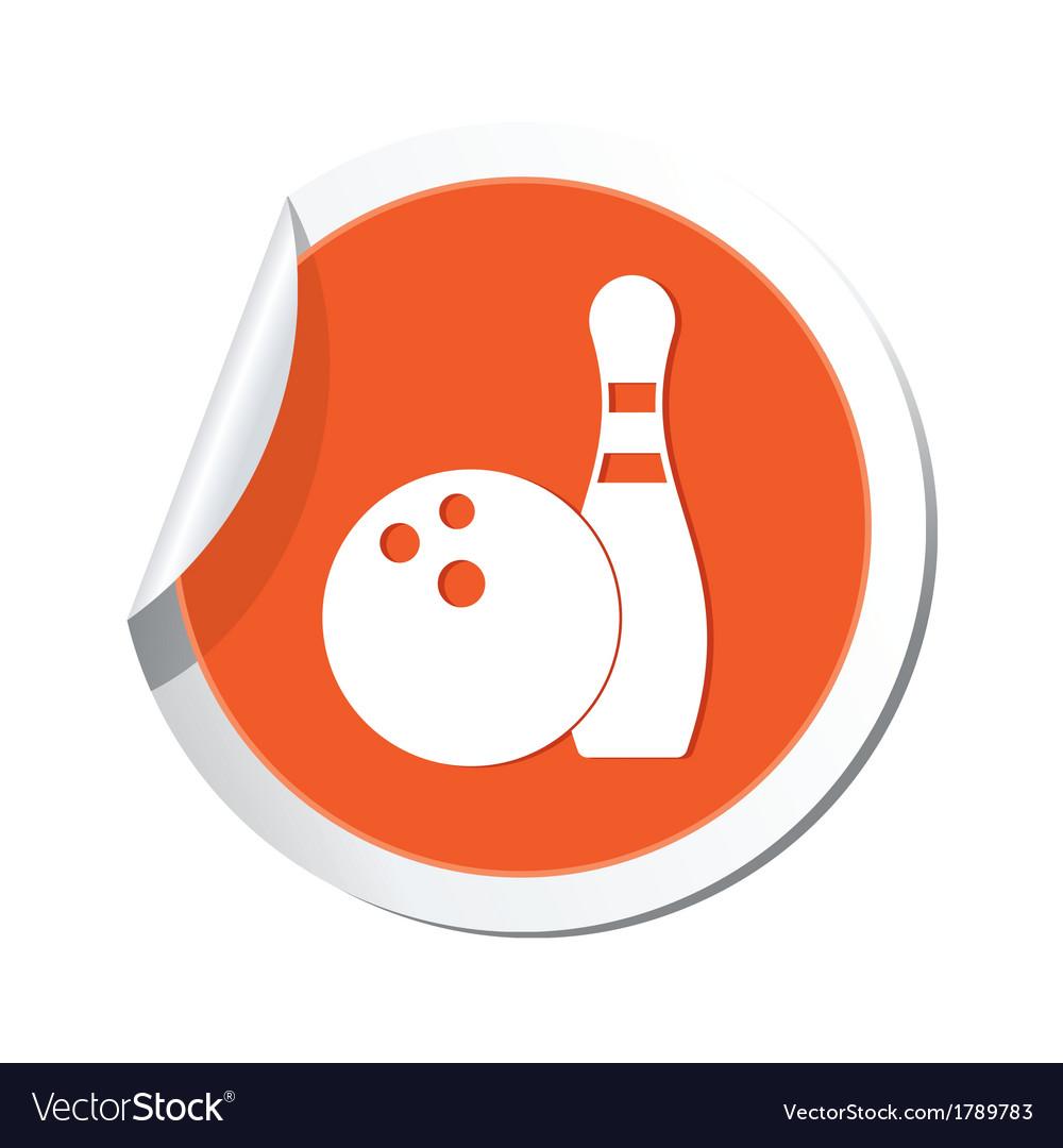 Bowling icon orange sticker vector | Price: 1 Credit (USD $1)