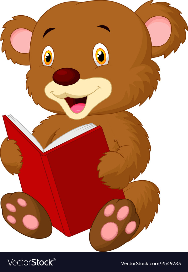 Cute bear cartoon reading vector | Price: 1 Credit (USD $1)