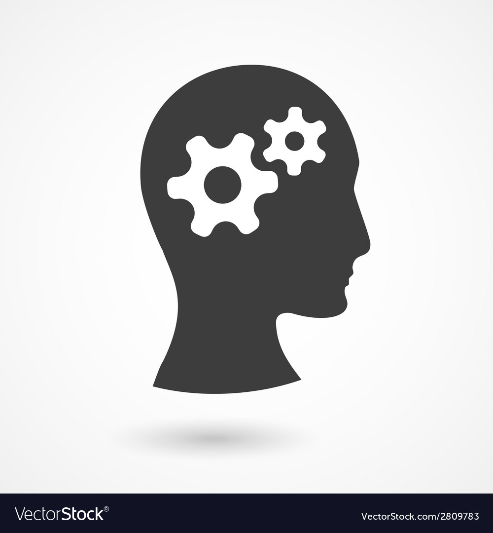 Human head with gears vector | Price: 1 Credit (USD $1)
