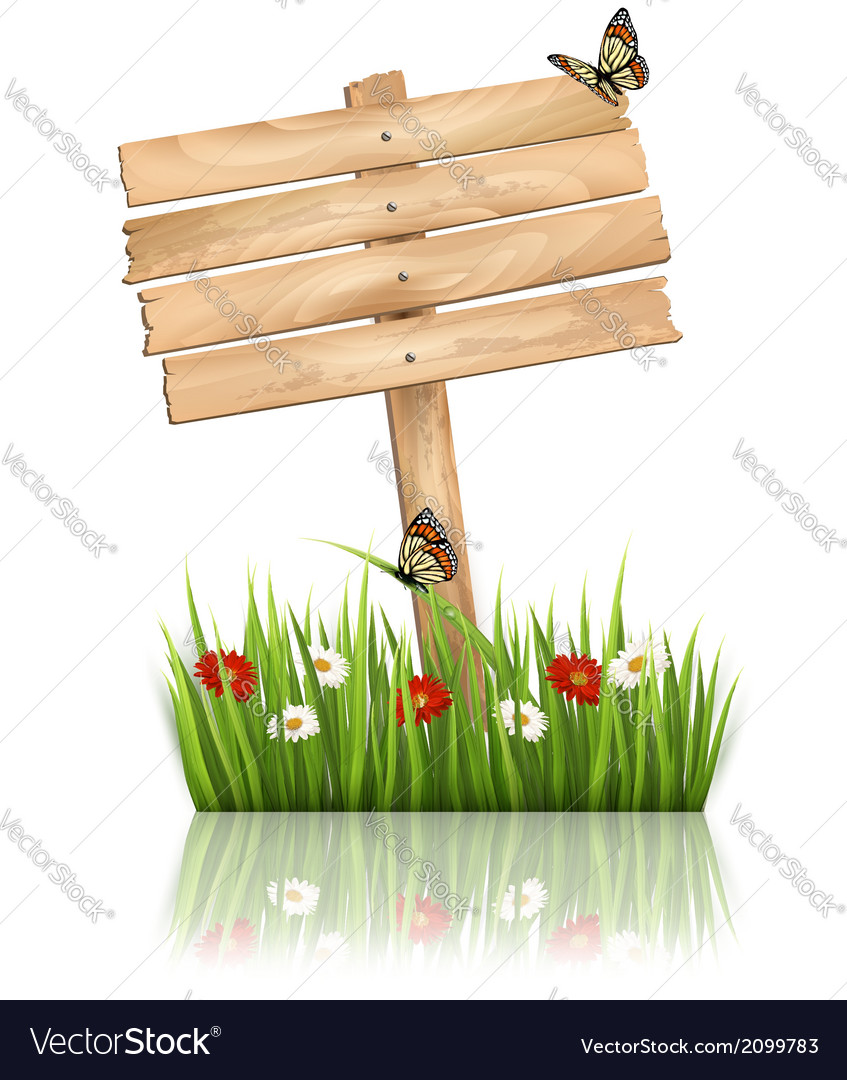 Nature background with green grass and flowers and vector   Price: 1 Credit (USD $1)