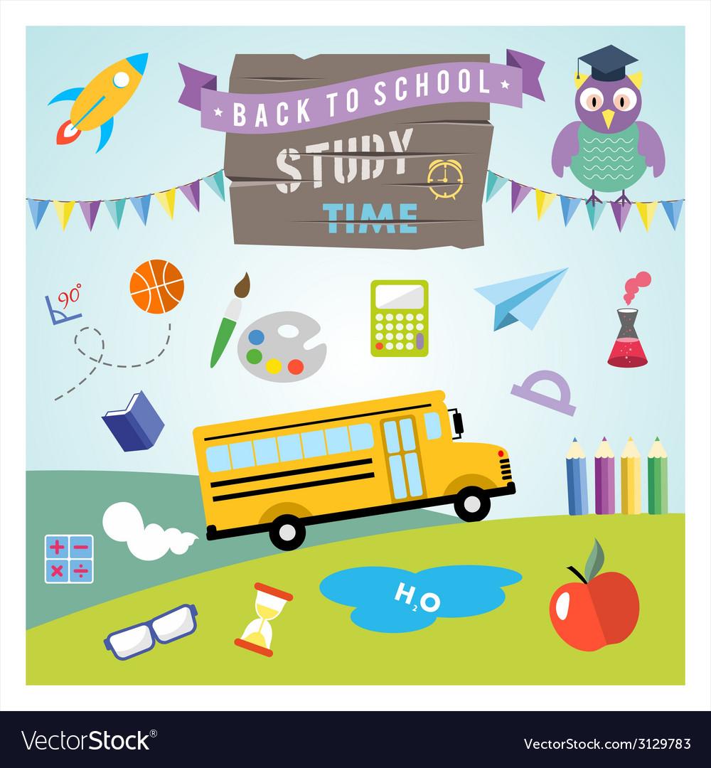 School design elements back to school flat design vector | Price: 1 Credit (USD $1)