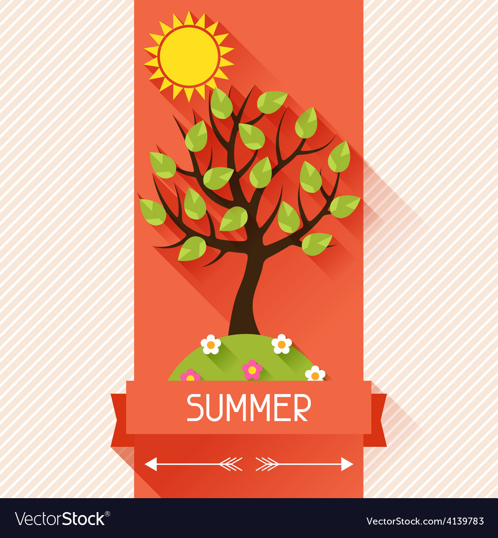Seasonal with summer tree in flat vector | Price: 1 Credit (USD $1)
