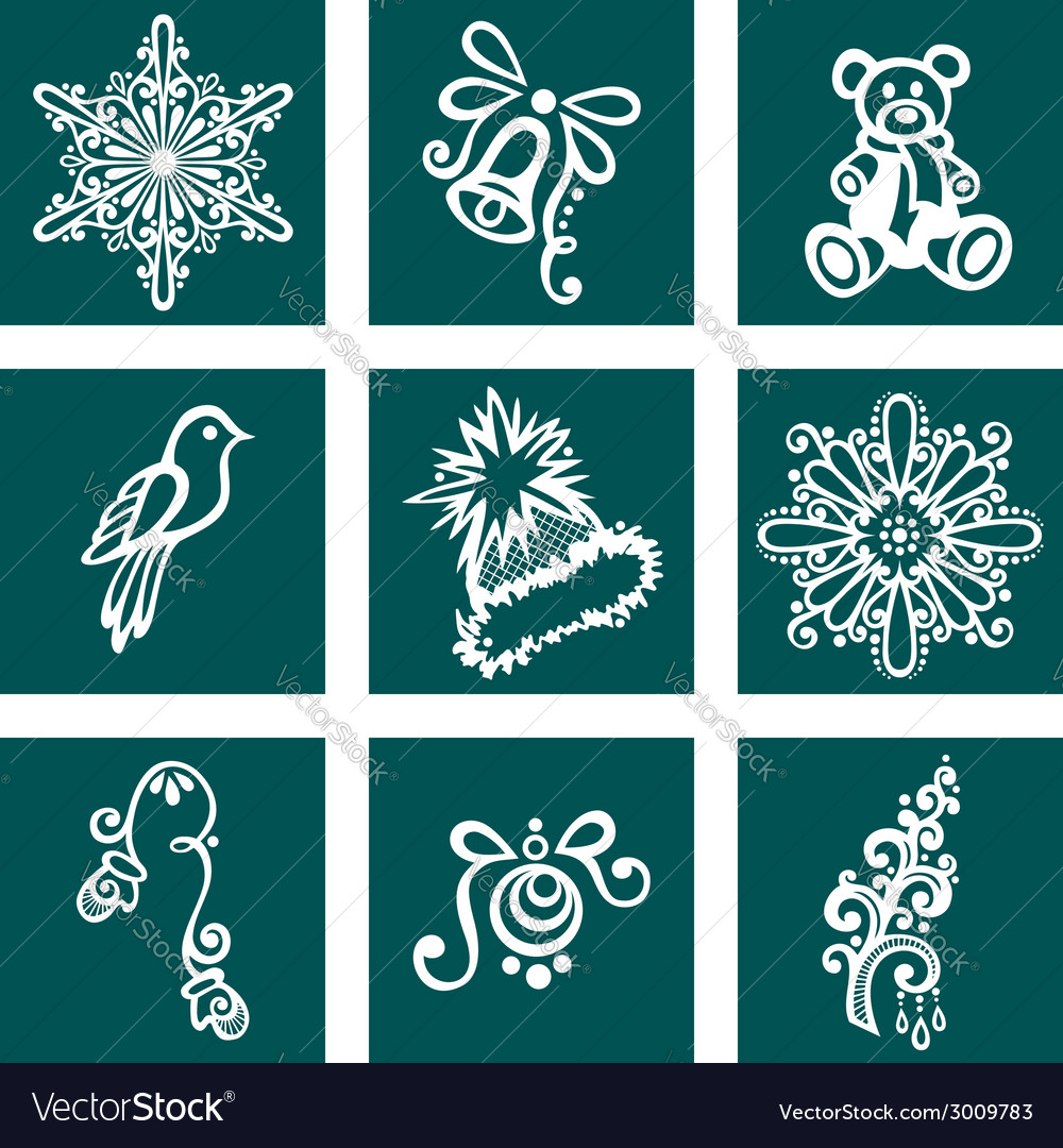 Set of deco ornamental winter objects vector | Price: 1 Credit (USD $1)