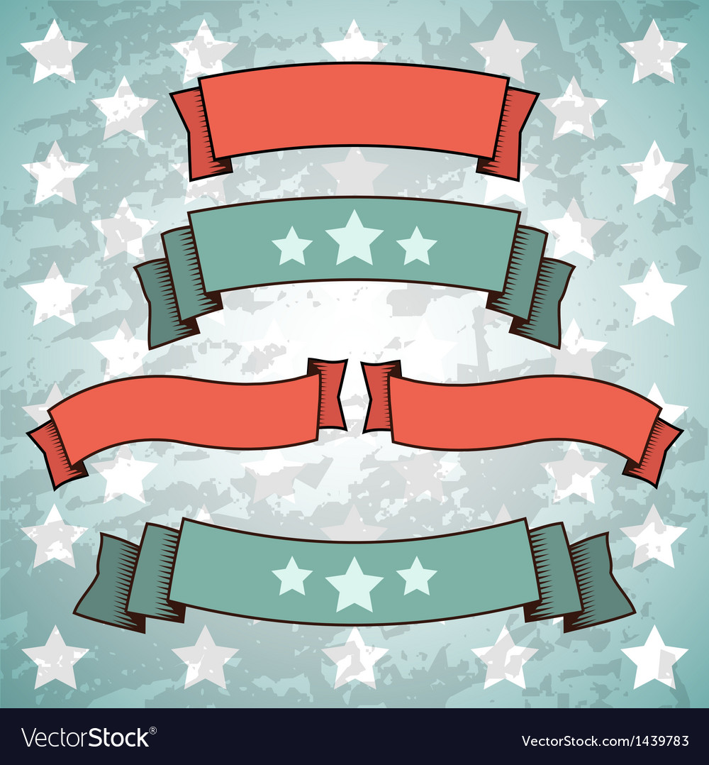 Set of retro patriotic banners vector | Price: 1 Credit (USD $1)