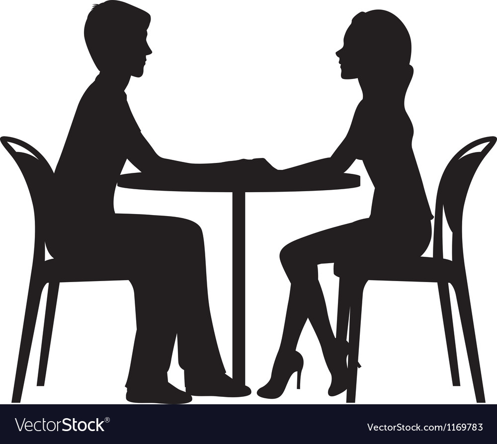 Silhouette of lovers on a date in the cafe vector | Price: 1 Credit (USD $1)