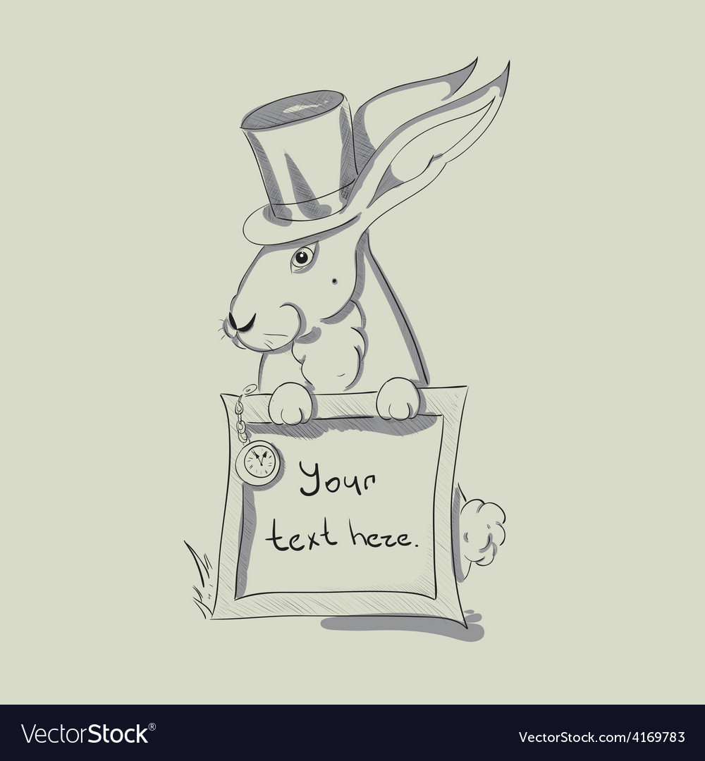 Sketch portrait of rabbit in a tall hat with clock vector