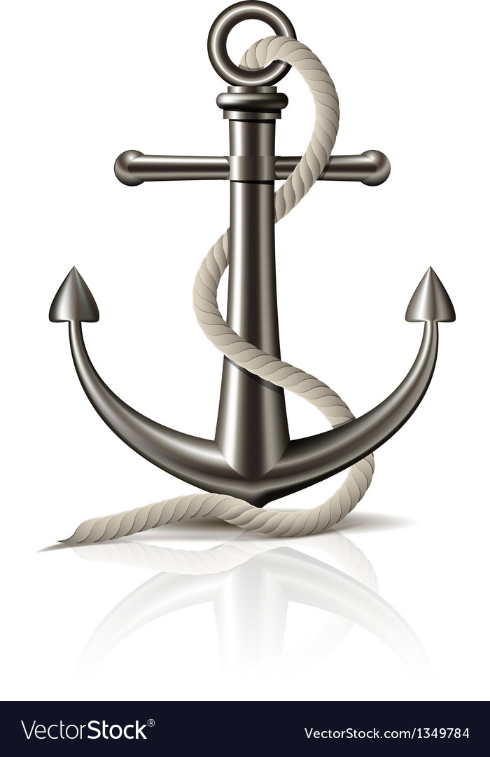 Anchor with rope on white background vector | Price: 1 Credit (USD $1)