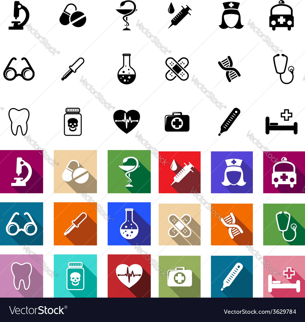 Black and coloured flat medical icons vector | Price: 1 Credit (USD $1)
