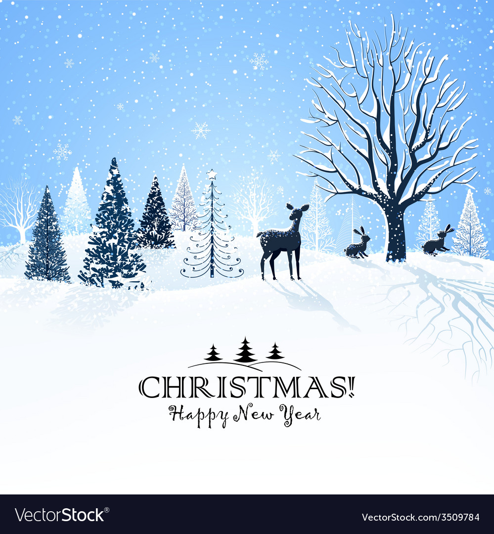 Christmas card with reindeer vector | Price: 1 Credit (USD $1)