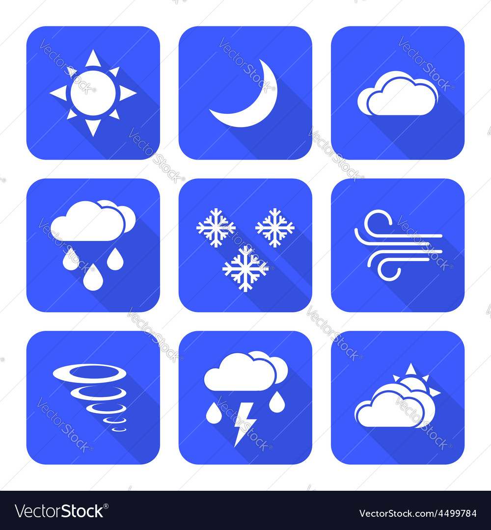 Flat style solid white color weather forecast vector | Price: 1 Credit (USD $1)