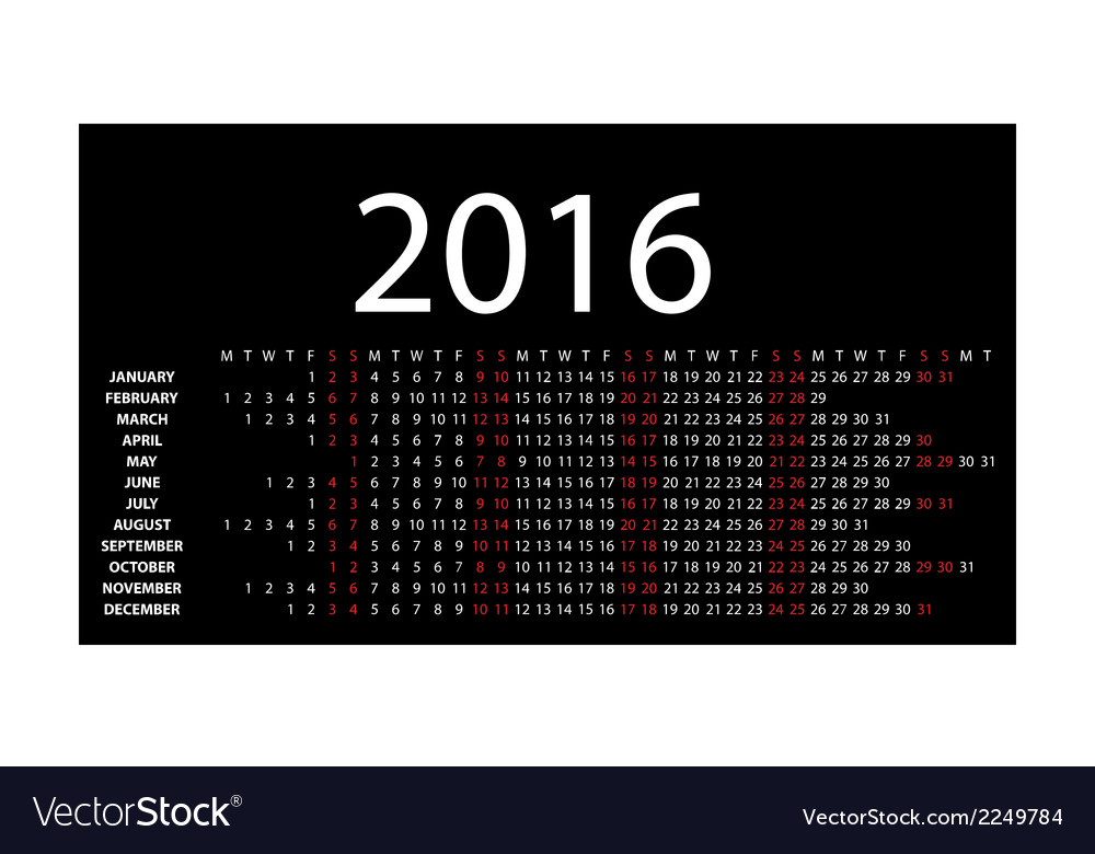 Horizontal calendar for 2016 vector | Price: 1 Credit (USD $1)