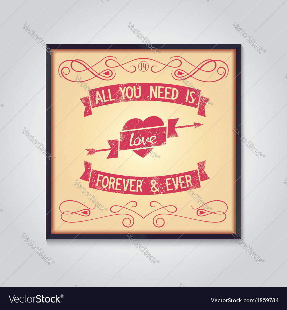Love quote with design signs grunge vector | Price: 1 Credit (USD $1)