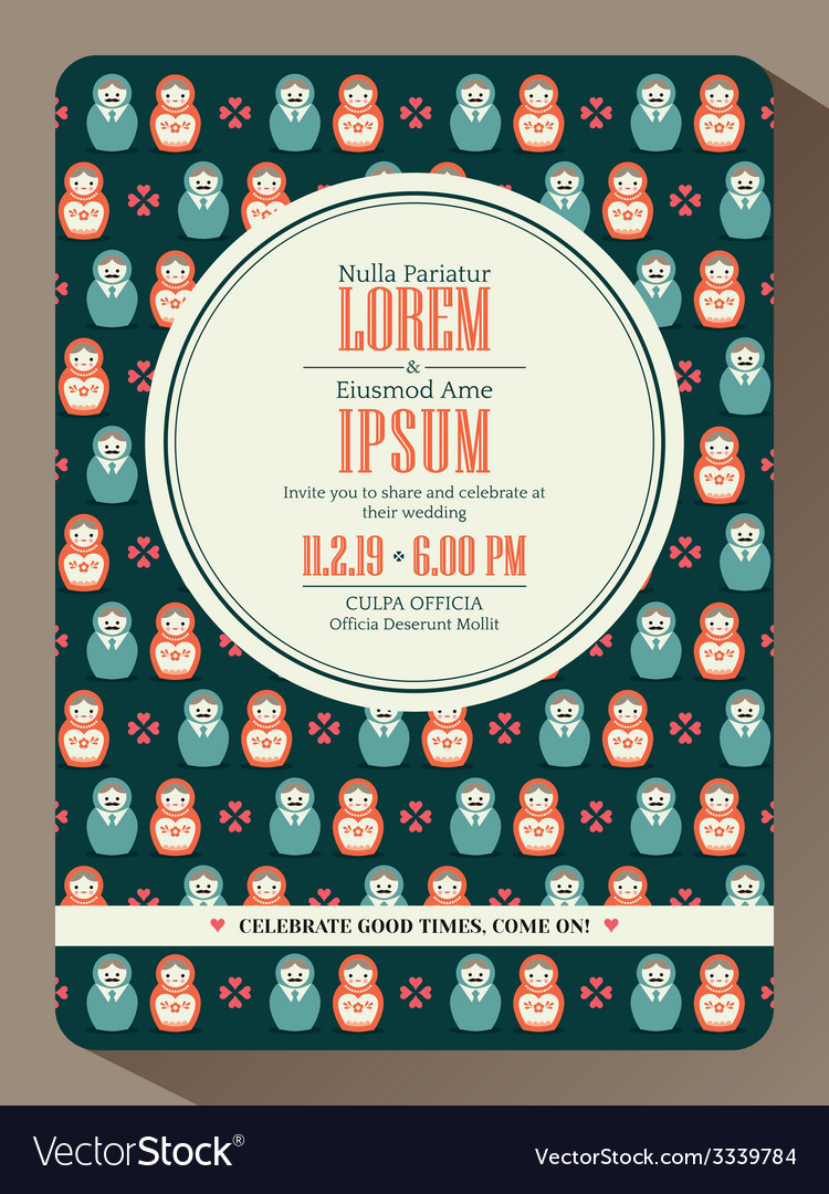 Modern hipster wedding invitation card design vector | Price: 1 Credit (USD $1)