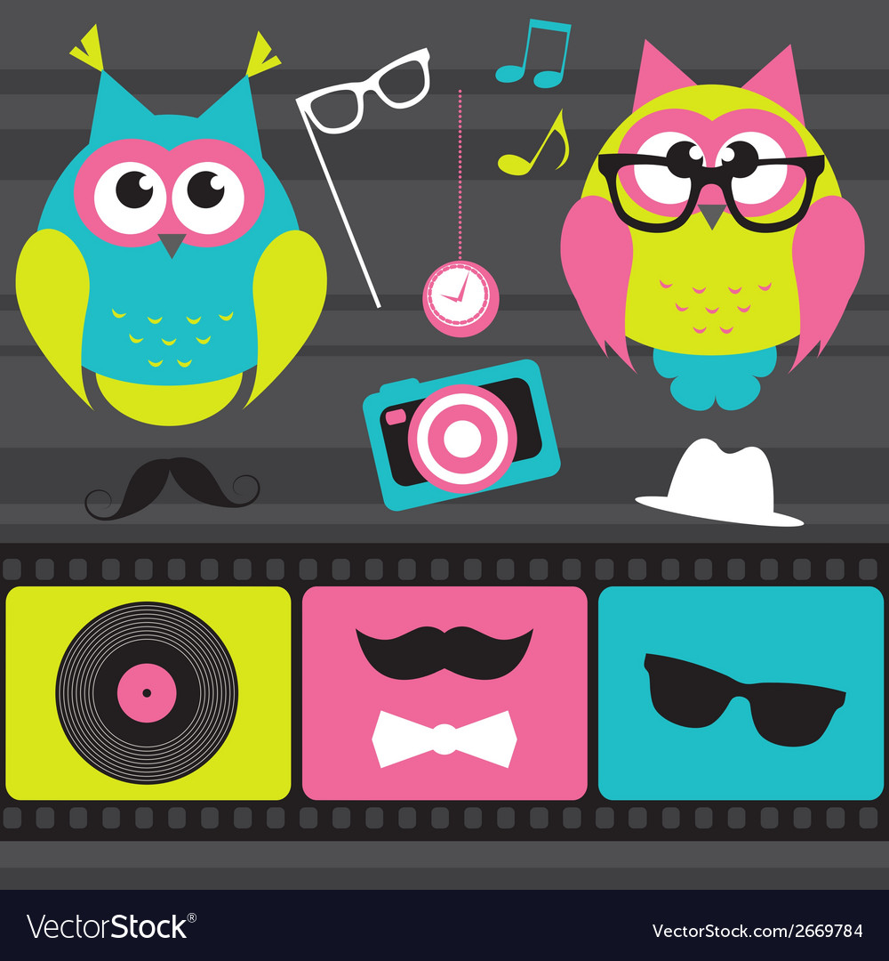 Set of retro elements and owls vector | Price: 1 Credit (USD $1)