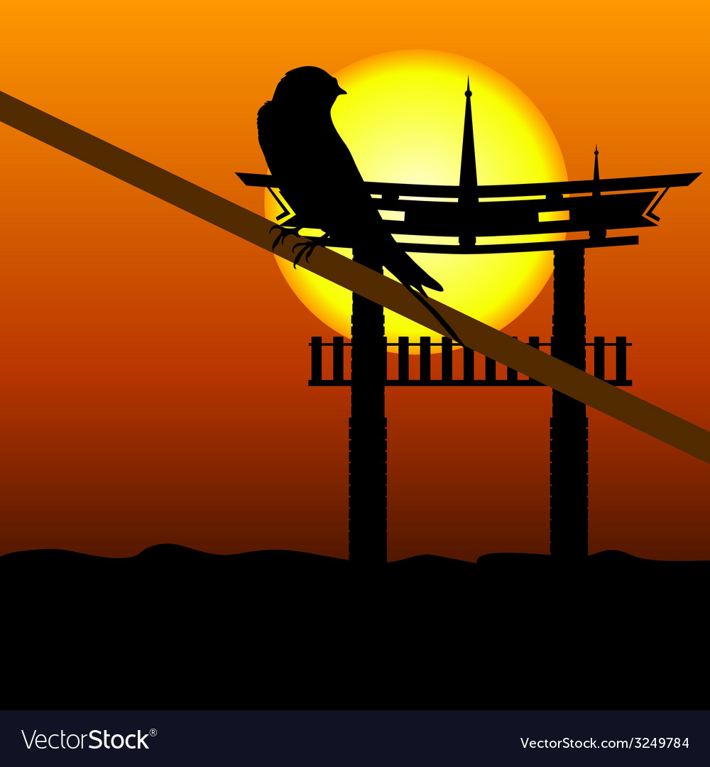 Sparrow on branch with old construction in vector | Price: 1 Credit (USD $1)