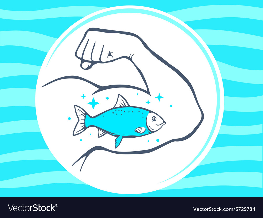 Strong man hand with icon of fish on blu vector | Price: 1 Credit (USD $1)