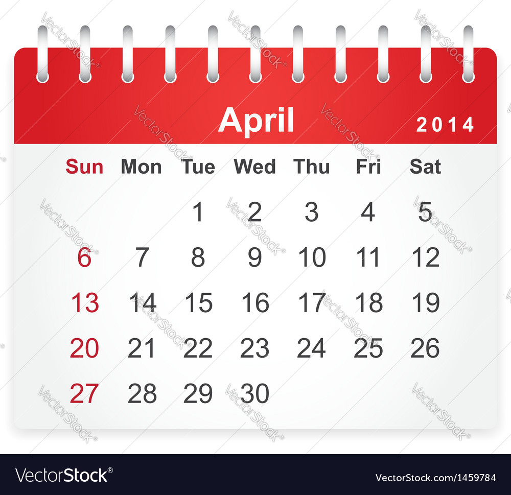 Stylish calendar page for april 2014 vector | Price: 1 Credit (USD $1)