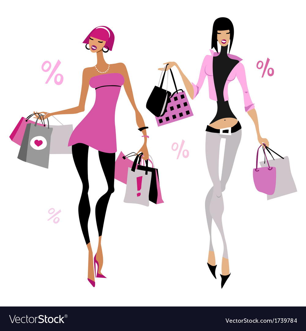 Women with shopping bags vector | Price: 1 Credit (USD $1)