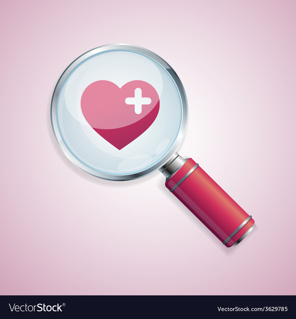 Dating concept loupe and heart vector | Price: 1 Credit (USD $1)