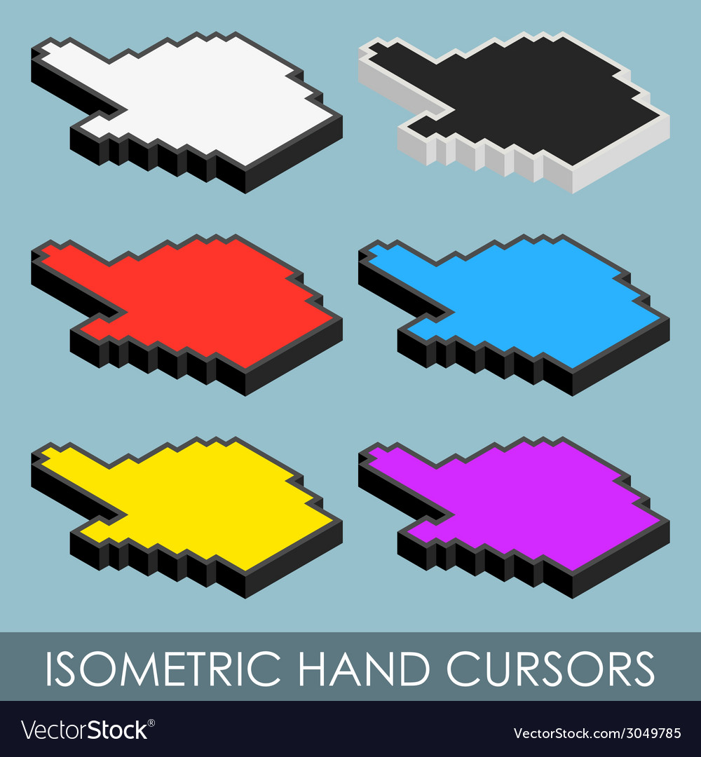 Isometric hand cursors vector | Price: 1 Credit (USD $1)