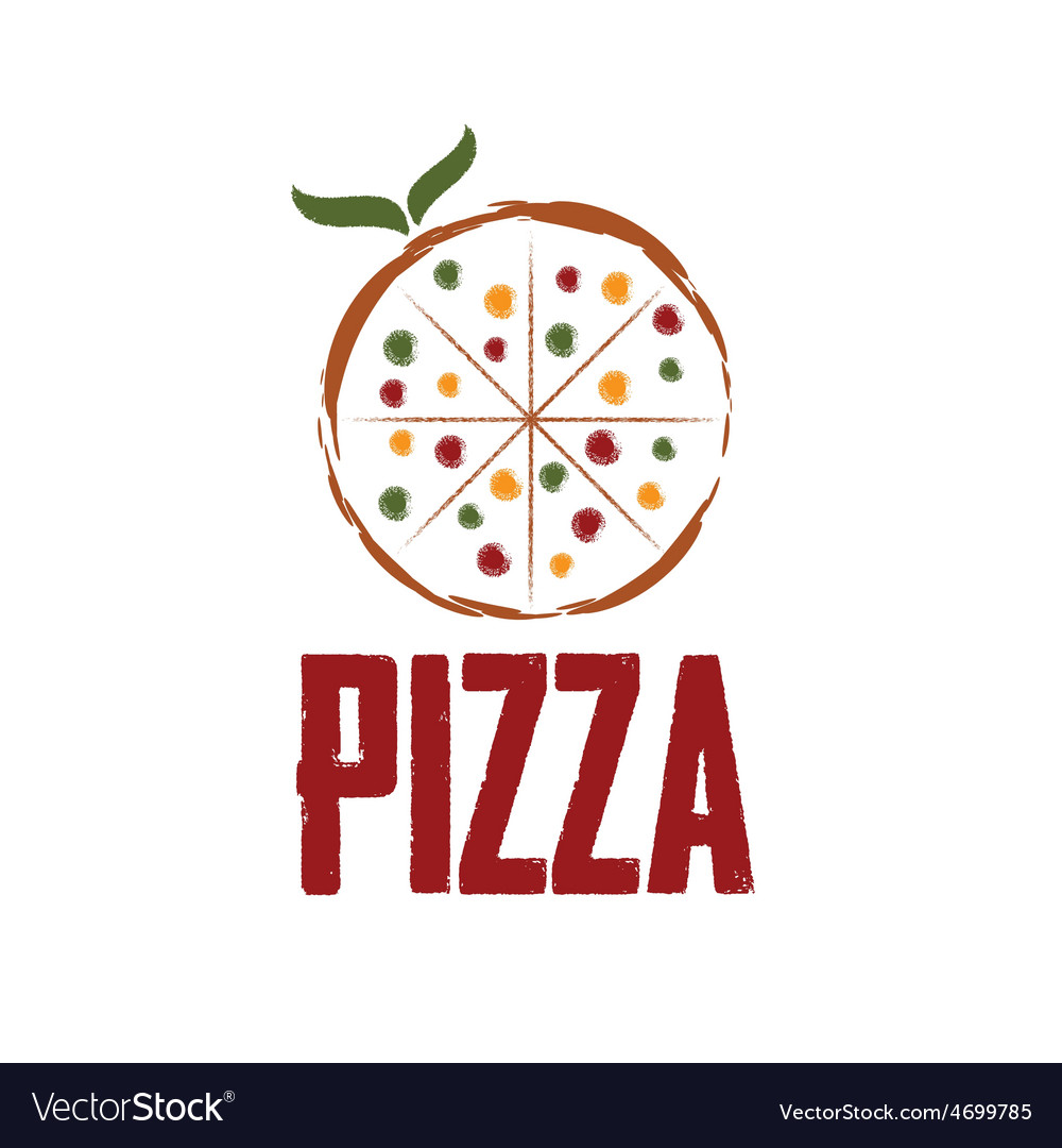 Pizza with leaves design template vector | Price: 1 Credit (USD $1)