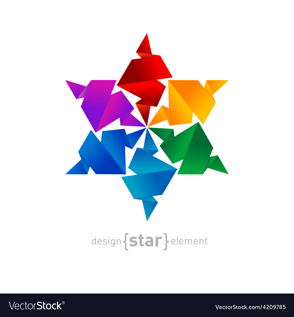 Rainbow origami star on white background vector | Price: 1 Credit (USD $1)